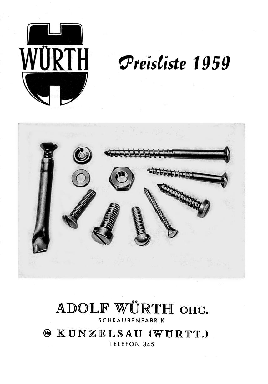 1959 - Il primo listino prezzi Würth.
