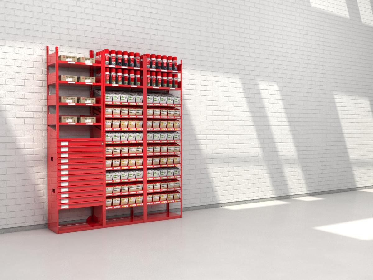 rendering scaffalatura modulare professionale