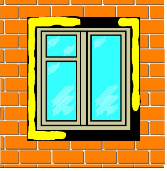Sigillatura della finestra tutt'intorno contro la corrente d'aria