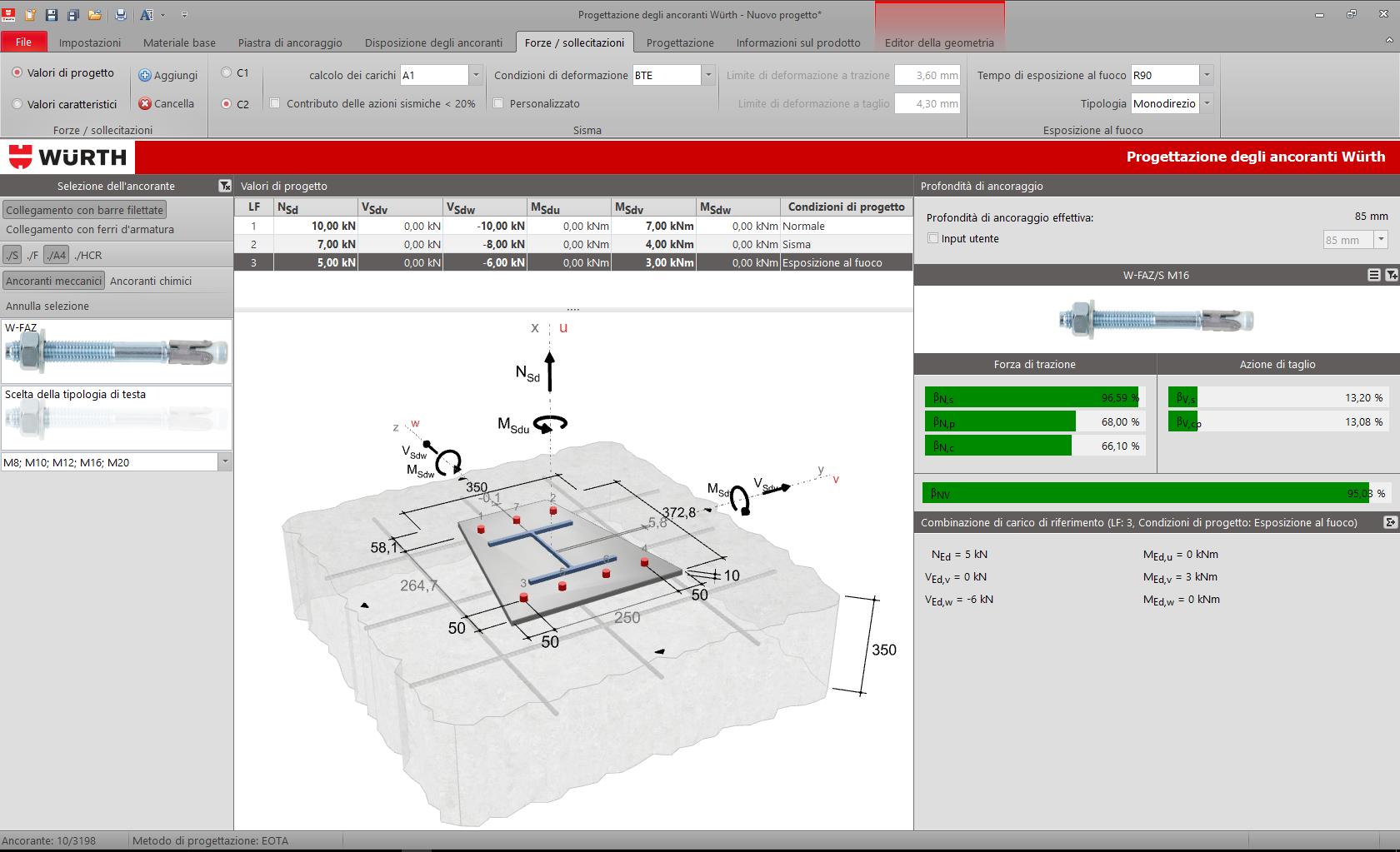 Software calcolo ancoranti in calcestruzzo