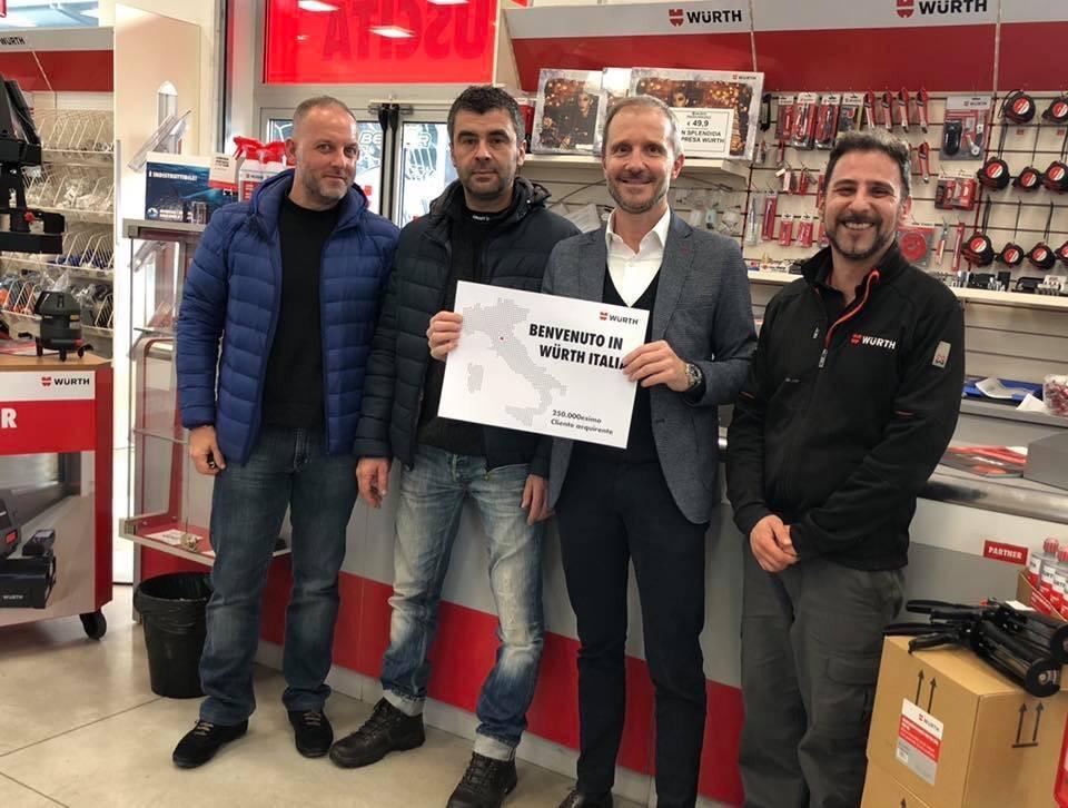 Andrea Cavini, 250 millesimo cliente Würth Italia