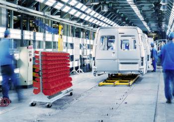 Sistemi per la gestione del materiale sulle linee di produzione: scaffale carrellato e Multi Trolley